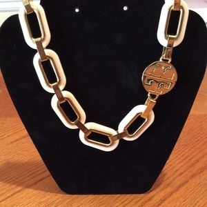 Tory Burch Cream/Ivory Gold Tone Necklace